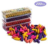 INONE 200 Pcs Upgrade Backflow Incense Cones for Backflow Incense Burner Multiple Scent