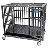 PARPET 37 Inch Heavy Duty Empire Dog Crate Strong Metal Pet Kennel Cage with Removable Wheels/Steel Tray, Medium