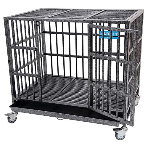 PARPET 37 Inch Heavy Duty Empire Dog Crate Strong Metal Pet Kennel Cage with Removable Wheels/Steel...