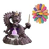 Mtianxy Quemador de incienso de reflujo hecho a mano de cerámica con luz LED de dragón, quemador de incienso de reflujo de incienso con 50 conos de incienso para decoración del hogar.