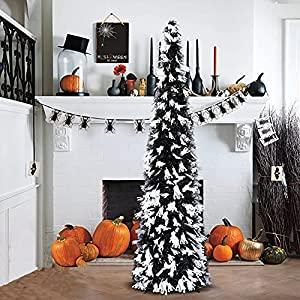 5′ black tinsel pop-up artificial halloween christmas tree,decoracted white ghost sequins,collapsible pencil halloween christmas trees for halloween christmas decoration silk flower arrangements