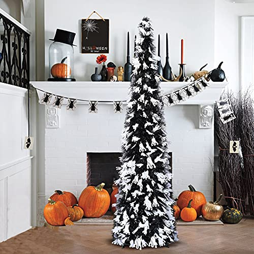 5' Black Tinsel Pop-Up Artificial Halloween Christmas Tree,Decoracted White Ghost Sequins,Collapsible Pencil Halloween Christmas Trees for Halloween Christmas Decoration