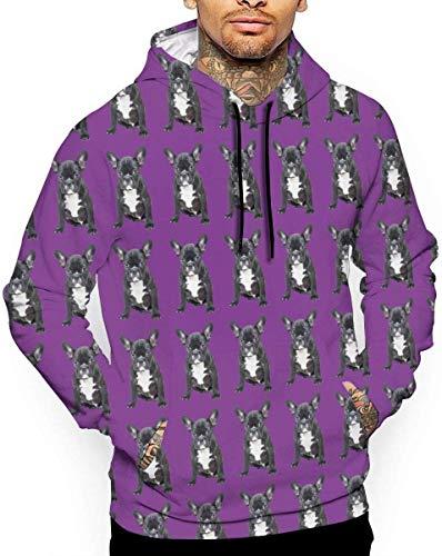geckor Englische Bulldogge Schwarz Unisex Hoodie Neuheit Coole Langarm Pullover Große Taschen Mit Kapuze Lustiger Druck Sweatshirt M