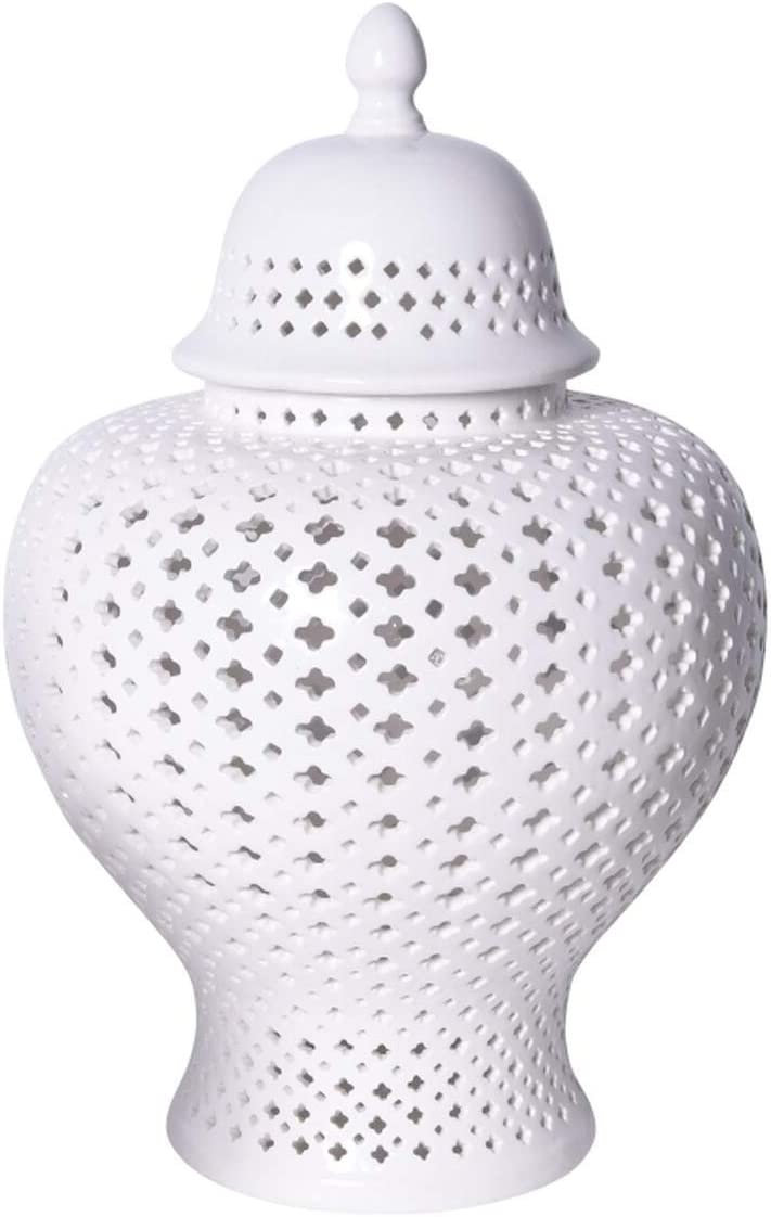 Amazon Com Asian Traditional Chinese White Lattice Ginger Jar With Lid Small Home Improvement
