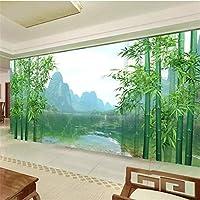 カスタム壁紙3D写真壁画巨大なオリジナル竹ギリン風景画リビングルーム寝室テレビ背景壁紙,350(W)×256(H)Cm