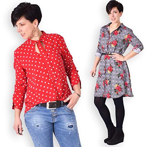 leni pepunkt Schnittmuster Damen Bluse in den Größen 32-58 zum Nähen mit Anleitung und 5 Webetiketten