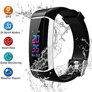 Pulsera Actividad GPS, 24 modos deportivos Monitor Pantalla Color ...