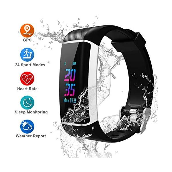 YOUNGDO Pulsera Actividad GPS, 24 modos deportivos Monitor pantalla en color monitor de ritmo cardíaco, GPS incorporado… 2