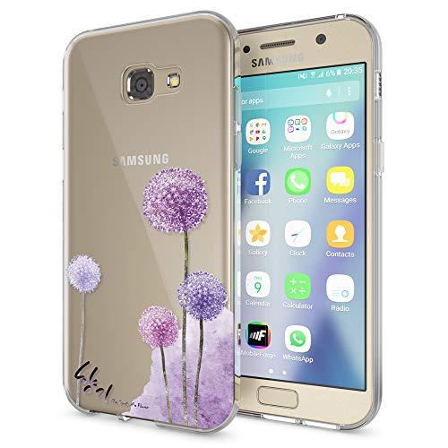 NALIA Handyhülle kompatibel mit Samsung Galaxy A5 2017, Slim Silikon Motiv Hülle Cover Schutz-Hülle Dünn Durchsichtig Etui Handy-Tasche Backcover Transparent Bumper, Designs:Dandelion Pink