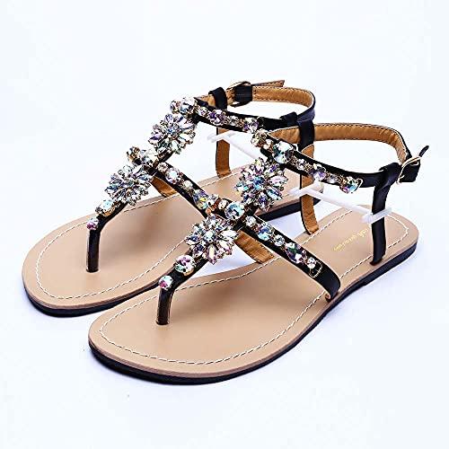 AMEA Sandalias de la Playa de Las Mujeres de Verano Lady Shining Rhinestones Zapatos Bohemia Diamond T-Strap Thong Flip Flops Cómodos Zapatos Boho,Negro,4