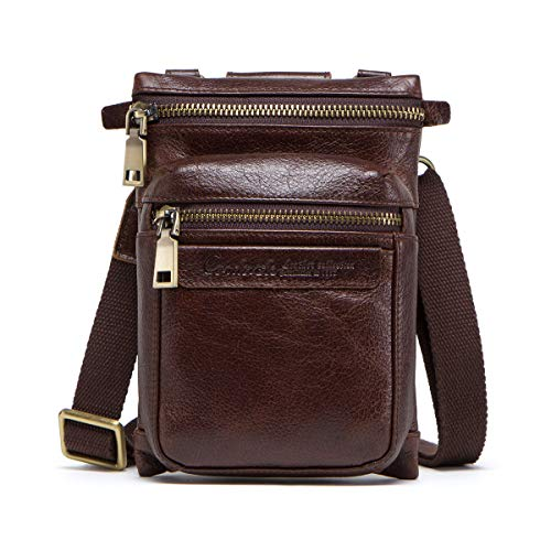 Contactos Crazy Horse Leather Crossbody Teléfono Bolsa Cintura Pack Monedero Cartera Café