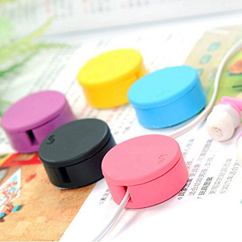 KitMax (TM) Pack of 6 Assorted Color Novelty Portable Mini Candy Color Headset Earphone Cable Tie Organizer Wrap with Cell Phone Screen Wipe
