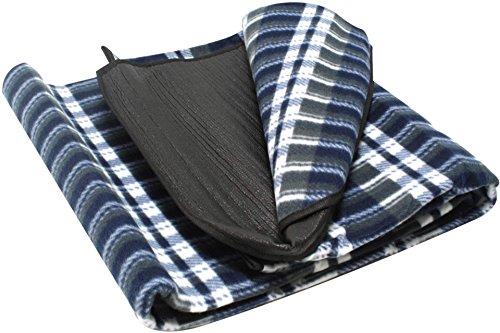 Picknickdecke 130 x 150 cm Blau kariert Camping Fleece Decke