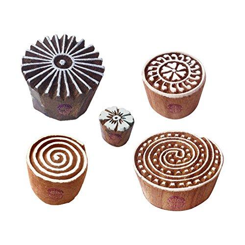 Royal Kraft Stilvoll Muster Spiral und Blumen Holz Blöcke Stempel (Set von 5)
