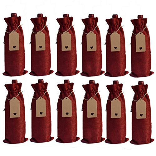 DASNTERED Bolsa reutilizable para botellas de vino, 12 unidades, para fiestas, bodas, bodas, inauguración de la casa, bolsa de regalo con cordón (rojo vino)