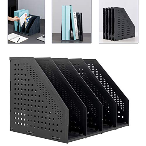 Deli Collapsible Desk Organizer Magazine File Holder for Office Organization and Storage with 4 Vertical Compartments