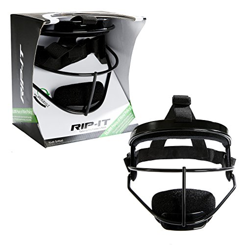 RIP-IT Defense Pro – The Ultimate Softball Fielder's Mask – Lightweight Protection with Uninhibited Visibility, Performance, and Blackout Technology – Black – Youth