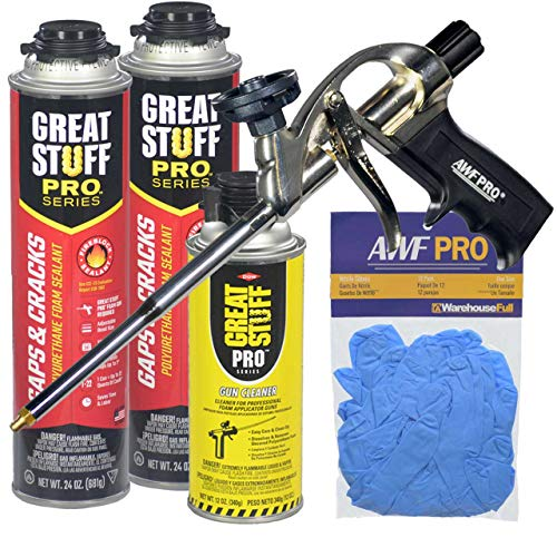 """Great Stuff PRO Gaps and Cracks - 24oz Fireblock Foam Insulation Sealant, Pack of 2. Closed Cell, Polyurethane Expanding Spray Foam. Seals & Insulates Gaps Up to 3"""". Gun, Cleaner, Gloves Included"""