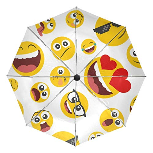 Cacoffay Gelb Weiß Automatischer Regenschirm Emoji Smiley Winddicht Wasserdicht UV-Schutz Reise Regenschirm – 3 Faltungen Automatischer Öffnen Schließknopf für Sonne & Regen Auto Regenschirm