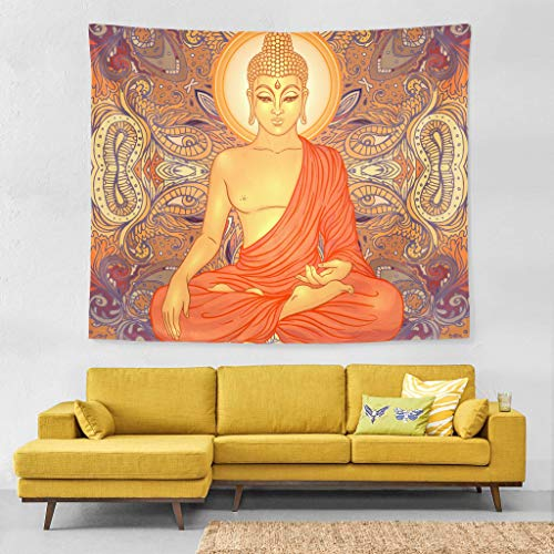 Wall Tapestry Hippie Sitting Buddha Vintage Livingroom Exclusive Decor Wall Hanging Art 60x51 Inches Horizontal Wall Backdrop Blankets for Bed Room Divider