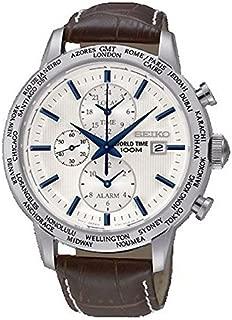 Seiko SPL051 P1 White Dial Brown Leather Band World Time Alarm Men's Analog Quartz Watch