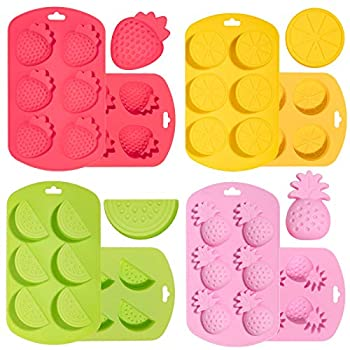 Whaline 4 Pack Fruit Shaped Silicone Mold Pineapple Orange Watermelon Strawberry Chocolate Candy Mould 3D Summer Fruit Ice Mold for Jelly Fondant Soap Gummy Cake Cupcake Topper Decoration