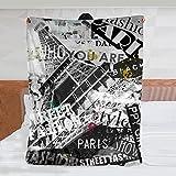 Franela manta paris france vintage ilustración con eiffel torre la tour eiffel in París franceAire acondicionado habitación doble cama salón sofá playa camping carro manta wsl 50x40