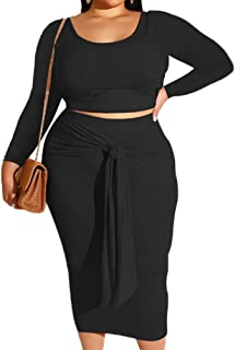 Plus Size Skirt Sets - Stretchy Sexy Two Piece Outfits...