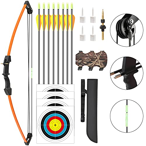 Aimdor Archery Bow and Arrow Set Youth Compound Bow and Arrow Practice Bow Kids Bow Birthday Gift Bow Left and Right Hand Bow Beginner Bow with 8 Arrows and Quiver for Outdoor Play Orange