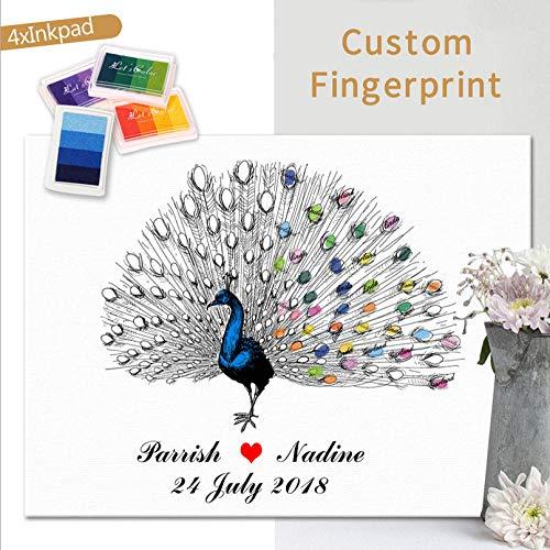 DIY Finger Doodle Bruiloft Getuige Partij Verjaardag Vingerafdruk Aanwezigheid Teken Souvenir Kleur Mooie Pauw Home Decor Souvenir Behang Foto 30x40cm