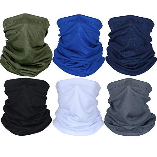 6 Pieces Summer Face Cover UV Protection Neck Gaiter Scarf Sunscreen Breathable Bandana (Polyester)