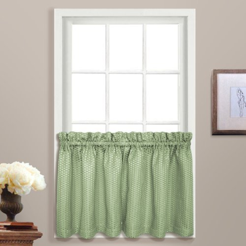 United Curtain Hamden Woven Waffle Kitchen Tiers, 55 by 24-Inch, Sage, Set of 2 by United Curtain