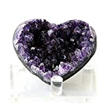 JIC Gem Deep Purple Amethyst Cluster Natural Druzy Heart 3' AA Color Beautiful Amazing Geodes Spiritual Healing Home and Office Decor with Base