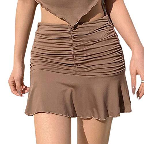 Falda sexy con volantes para mujer, falda corta de tenis y patinador marrón M
