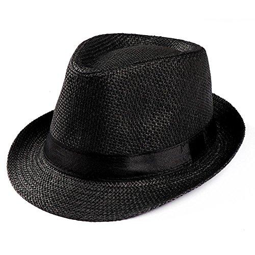 Rawdah- Elegante Cappello Parasole di Paglia, da Unisex,Bordo ellittico, Flessibile e Pieghevole, Adatto per l'Estate e la Spiaggia Beige-Hollow Cappello,Jazz Hat da Donna &Uomo (Nero)