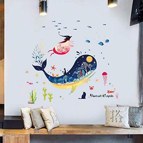 Adesivi murali arte Cartone animato Mondo subacqueo Balena Poster Adesivo murale impermeabile Wndow in vetro Adesivi per piastrelle per bagno Camerette Decorazioni per la casa Murale