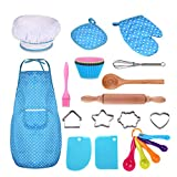 Anpole 25 Pcs Complete Kids Chef Set, Children Cooking Play Kitchen Waterproof Baking Aprons, Chef Hat, Utensils, Cake Cutter, Silicone Cupcake Moulds for Kids Gift - Blue