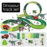 Euopat Dinosaur Toys,Dinosaur Tracks Car Toy, Train Tracks Create A Road Playset Jurassic World Dinosaur Toy Flexible Race Tracks Building Toy Gift Niños Niños