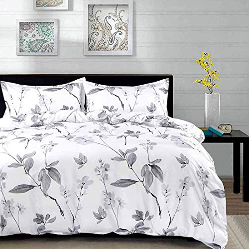 NANKO Duvet Cover Queen Set, 3 Piece - 90 x 90 Luxury Microfiber Down Flowers Comforter Quilt Cover with Zipper, Ties - Best Modern Bedding for Men Women Bed, White Floral Leaf