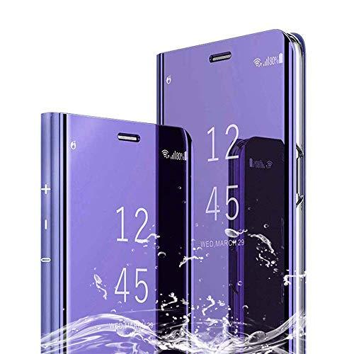XCYYOO Spiegel Hülle Kompatibel mit Xiaomi Mi A3 Cover Clear View Flip Schutzhülle Überzug PU Leder Tasche Frau Handyhülle Ultra Dünn Stoßfest Standing Bookstyle Case [Leicht zu Reinigen]