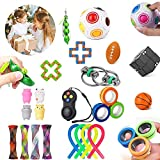 AIMEDYOU 24 Pack Fidget Toys Set, Sensory Toys Bundle for Kids Adults Stress Relief and Anti-Anxiety Hand Toys for Children, Fidget Pad, Liquid Motion Timer, Marble and Mesh, Snake Cube, and More