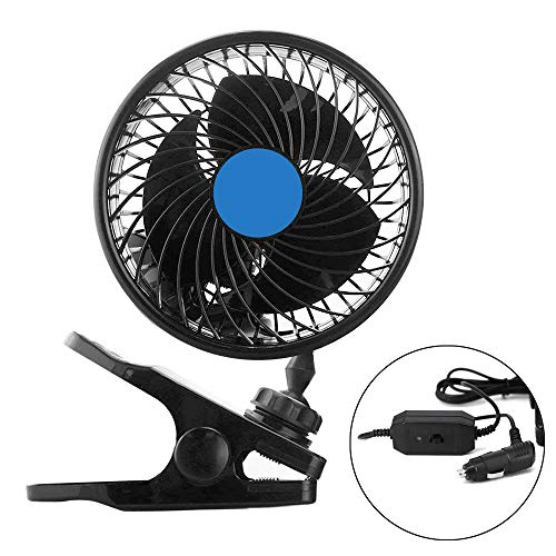 Electric Car Fan, 12V Car Cooling Fan Air Circulator Quiet Ventilation 360 Degree Rotatable Auto Fan with Adjustable Clip/Cigarette Lighter Plug for Home Boat/Vehicles(Latest)