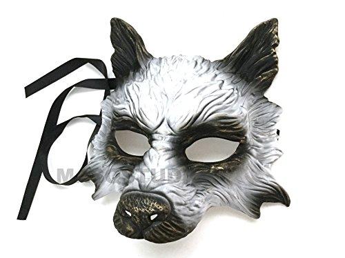 MasqStudio Gold White Wolf Mask Animal Masquerade Halloween Costume Cosplay Party mask