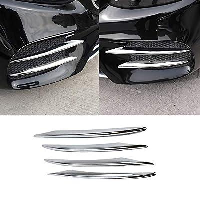 Chrome Front Corner Mesh Grill Molding Side Air Vent Fog Lights Exterior Cover Trims for Mercedes-Benz New E-Class W213 E300 Sedan Sport 2017 2018 2019 Car Exterior Accessories