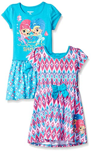 Nickelodeon Girls' Little Shimmer and Shine 2 Pack Dress, Pink/Teal, 3t
