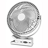 HIOD 8 Inch Rechargeable 10000mAh Battery Operated Clip On Fan Air Circulating USB Fan for Home Office Car Outdoor Travel Treadmill,White