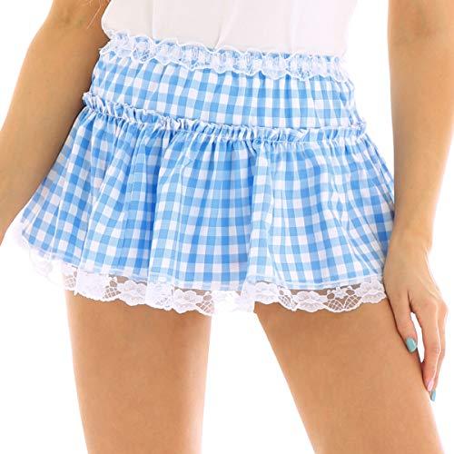 zdhoor Unisex Men Woman Plaid Pleated School Girl Lace Hem Gingham Mini Skirt Sissy Adult Baby Dress Light Blue Large