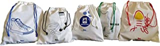 Arka Home Products Kids Travel Accessories Bag Set - Wash, Wear, Socks/Belt and Shoes Bags (100% Cotton) (Set of 5)