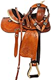 Blue Lake Premium Western Leather Barrel Racing Adult Horse Saddle Tack with Matching Leather Headstall + Breast Collar + Reins | Color : Brown-Black | Size 18 Inches Seat Available