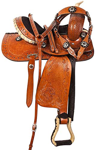 Blue Lake Premium Western Leather Barrel Racing Adult Horse Saddle Tack with Matching Leather Headstall + Breast Collar + Reins | Color : Brown-Black | Size 15 Inches Seat Available